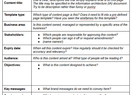 Content Strategy Applied Creating Better Web Content With Page - Content creation template